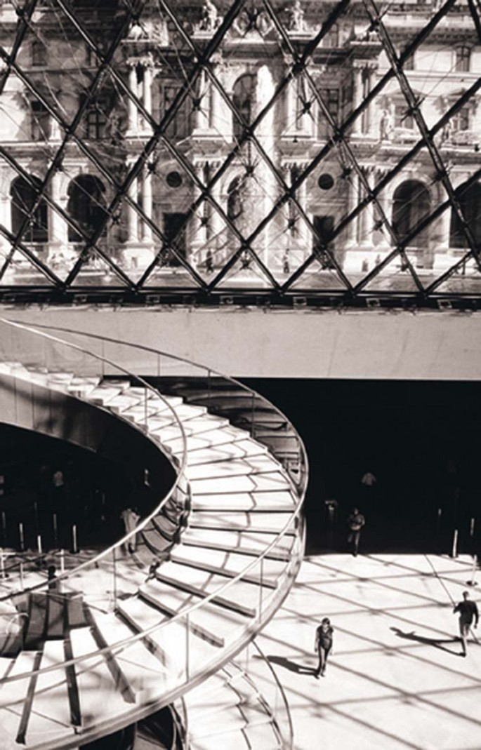 Titka Seddighi, </span><span><em>The Louvre-Stairs, 2003</em>, </span><span> Ink jet print (Giclee), 20  x 16 inches