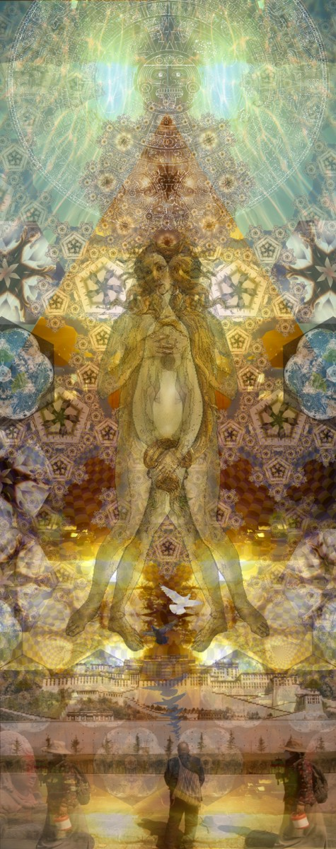 Michelle Lynn Johnson, </span><span><em>Universal Faith</em>, </span><span>Digital Collage, 20x60