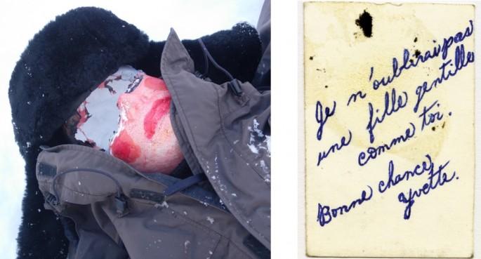 Left: Perdu (detail) Maria Legault, </span><span><em>Right: Chère Yvette (detail) Lise Beaudry</em>