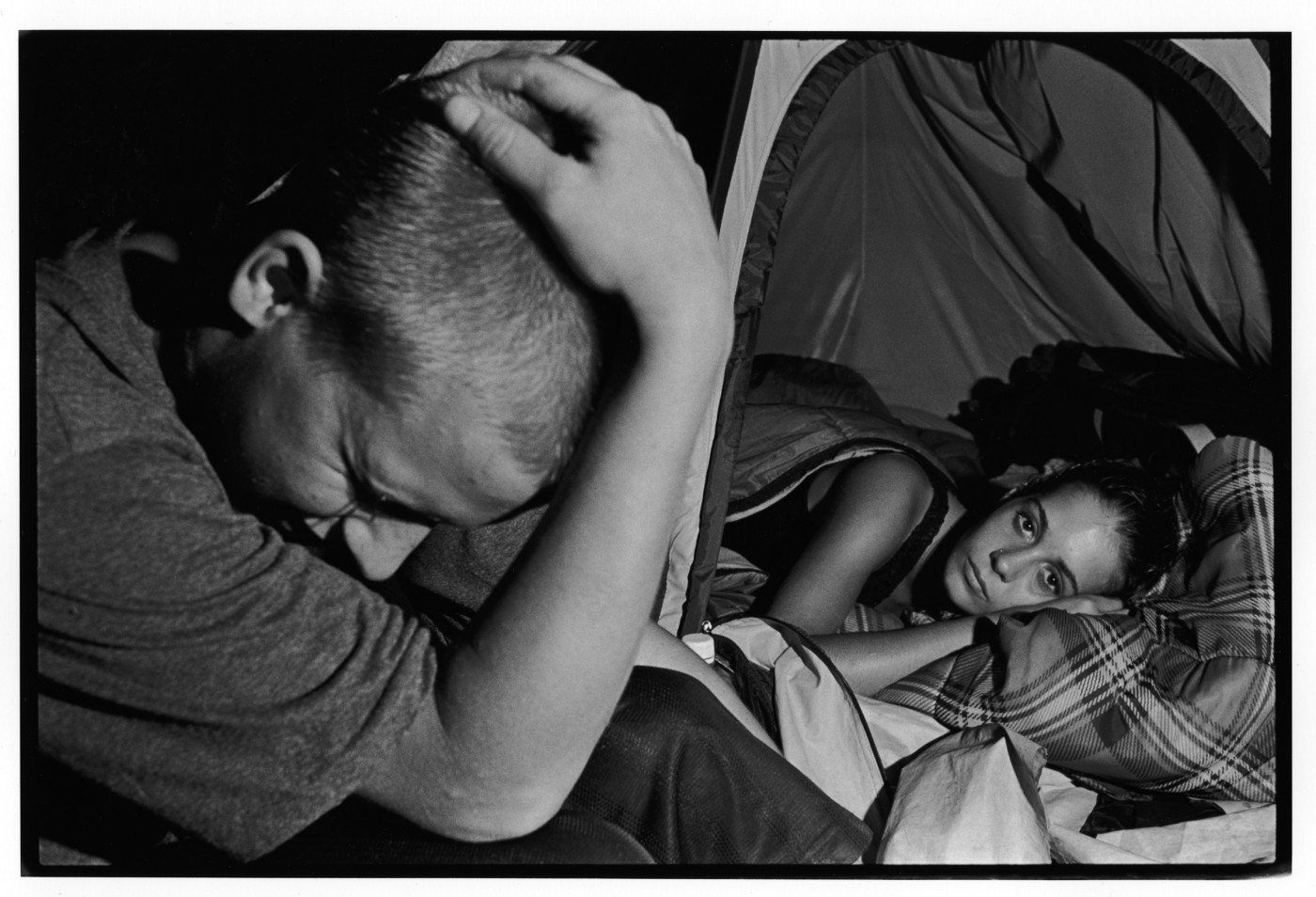 David Barker Maltby, </span><span><em>Teenage couple, Tent City, 2000</em>, </span><span>8.5 x 12.5