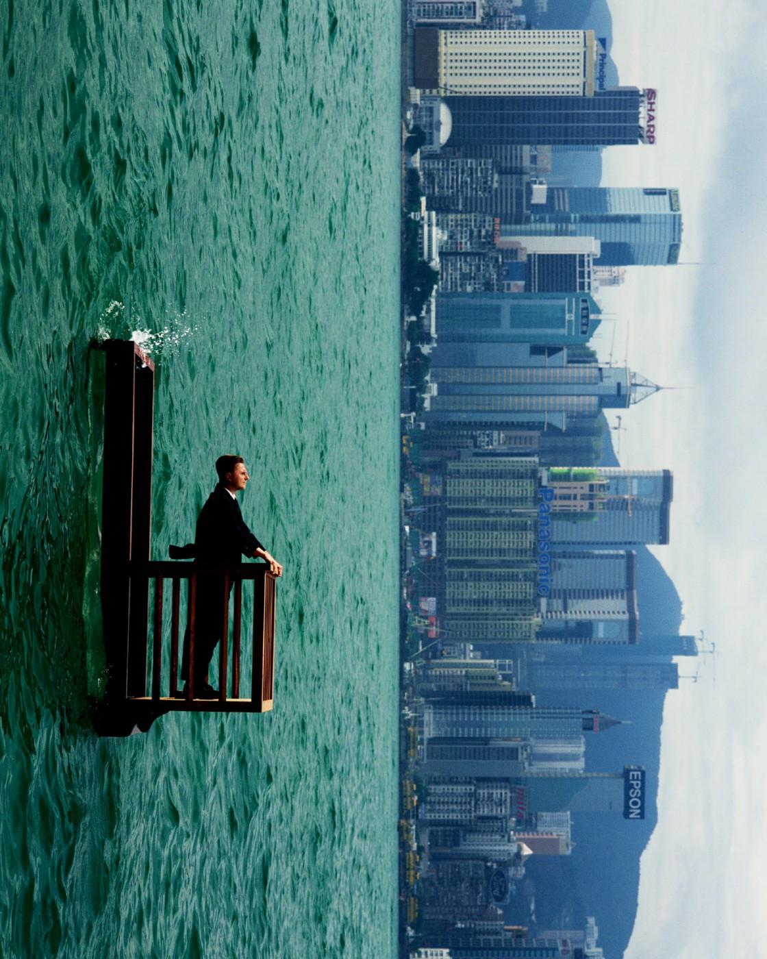 Philippe Ramette, Balcon 2 (Hong-Kong), 2001, </span><span><em>Photographer: Marc Domage Courtesy Galerie Xippas</em>