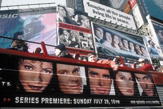 Robert Walker, </span><span><em>Times Square, NY, 2002</em>, </span><span>Digital Fujichrome print, 23 x 39 in