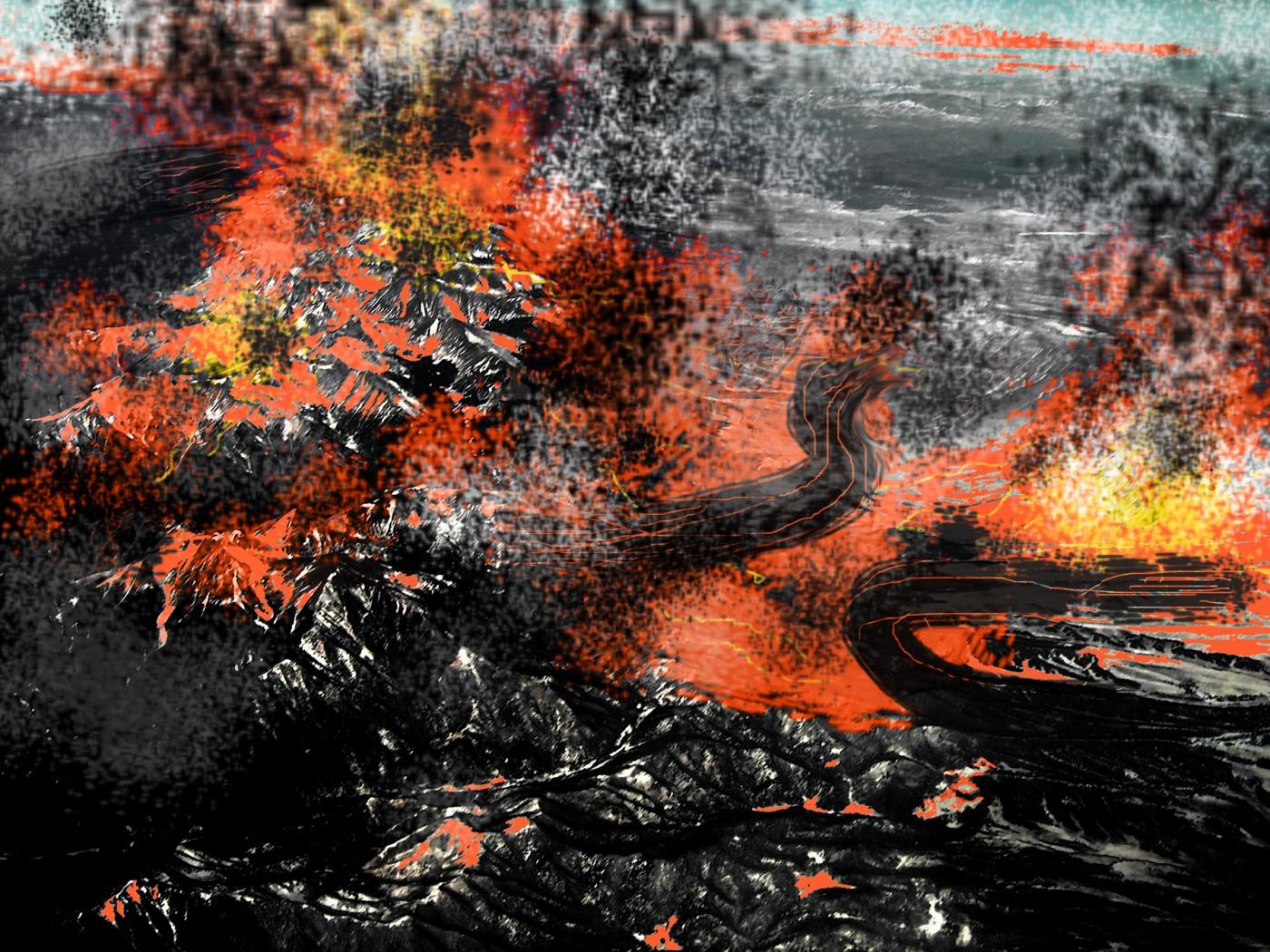 Susan Collacott, </span><span><em>Mountains in the Making</em>, </span><span>18x24 in