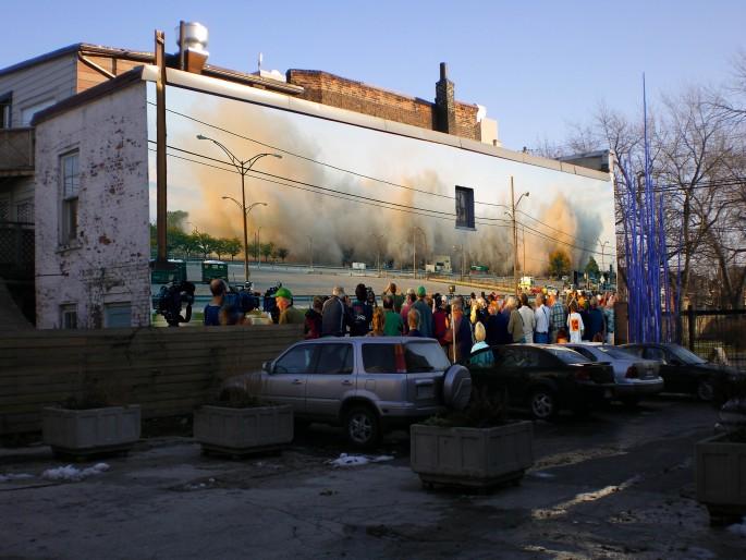 Robert Burley (installation photomontage), </span><span><em>Implosion of Buildings #65 &amp;amp; #69, Kodak Park, 2007 (detail)</em>