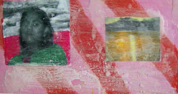 Tajvin Kazi (female, age 10), </span><span><em>Untitled, 2008</em>, </span><span>Encaustic and photograph, 10.5 x 20.5