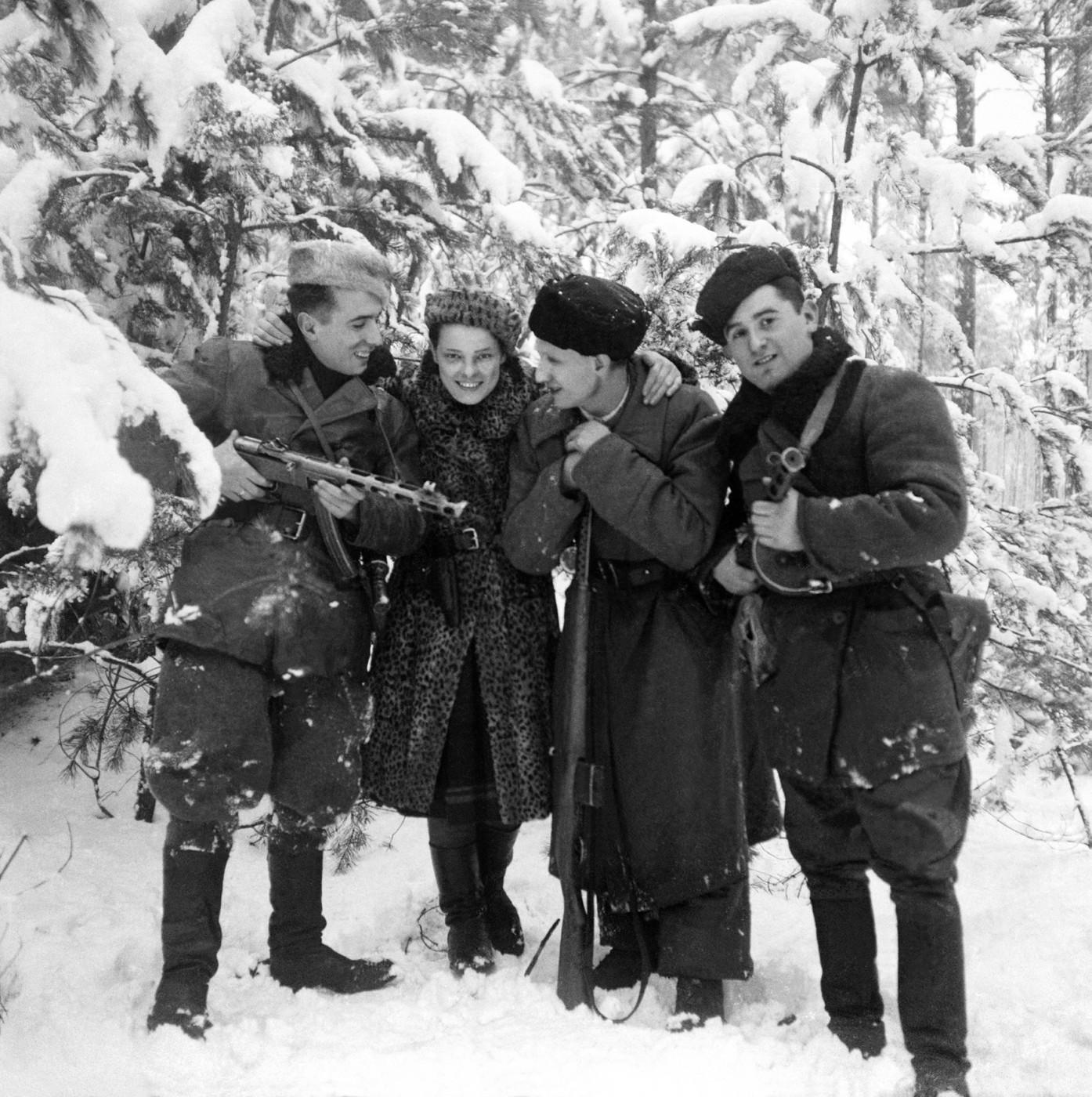 Faye Schulman (A Partisan's Memoir, Second Story Press), </span><span><em>Partisans in Forests near Lenin</em>, </span><span>1944