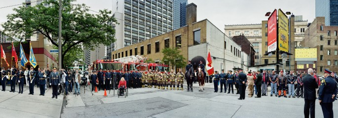 Scott McFarland, </span><span><em>Corner of the Courageous, Repatriation Ceremony for Sergeant Martin Goudreault, Grenville St., Toronto, Ontario</em>, </span><span>&lt;em&gt;June 9th, 2010&lt;/em&gt; Courtesy of Monte Clark Gallery