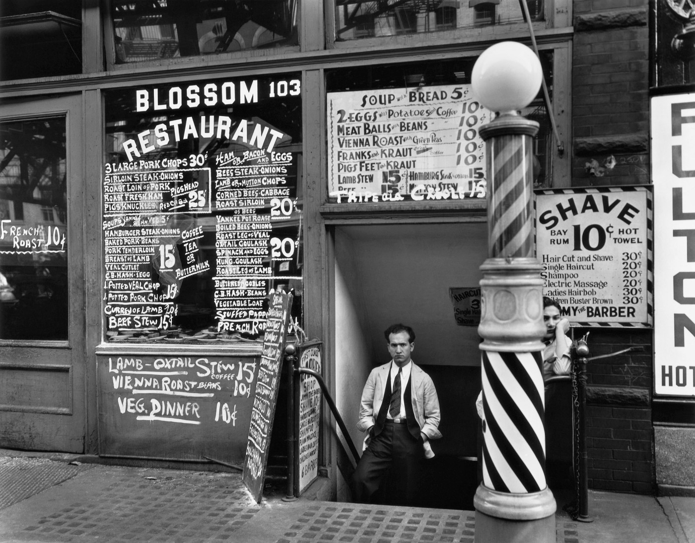 Berenice Abbott , </span><span><em>Blossom Restaurant, 103 Bowery, New York City, October 24,</em>, </span><span>1935