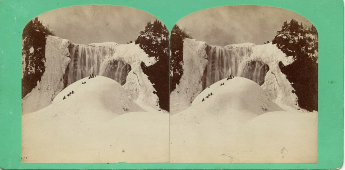 Stereo card of Montmorency Falls, Quebec, </span><span>1866