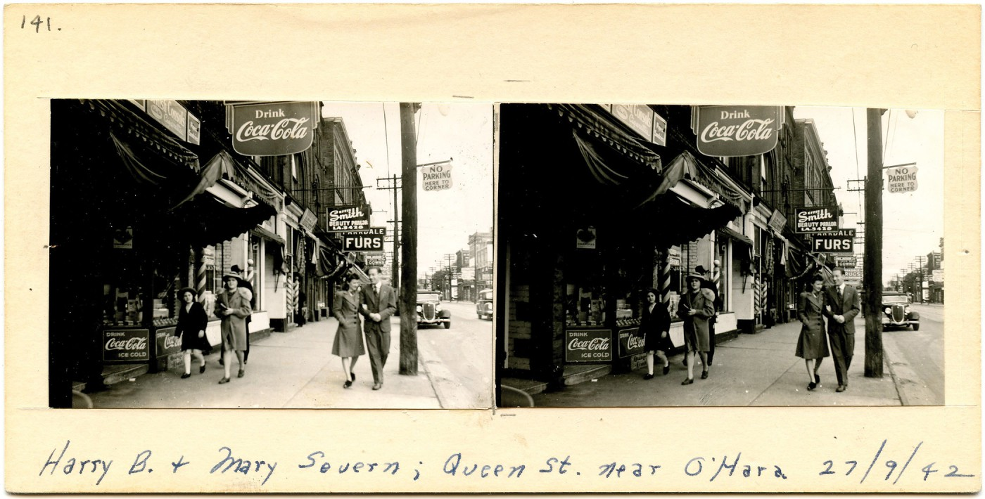 Unknown Toronto Photographer, </span><span><em>(141) Harry B. + Mary Severn; Queen St. near O'Hara</em>, </span><span>1942 From the collection of Robert Wilson, Photographic Historical Society of Canada.