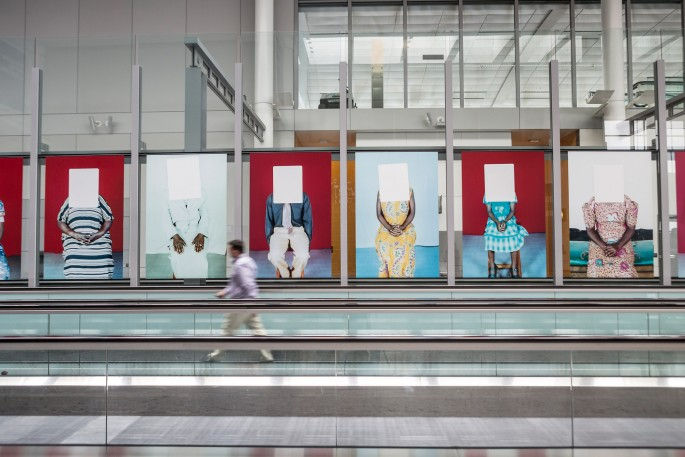Installation view of Martina Bacigalupo &lt;em&gt;Gulu Real Art Studio&lt;/em&gt; at Pearson International Airport, </span><span> Photo: Toni Hafkenscheid