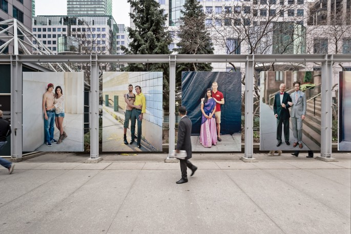 Installation view of Richard Renaldi &lt;em&gt;Touching Strangers&lt;/em&gt;, </span><span> Photo: Toni Hafkenscheid