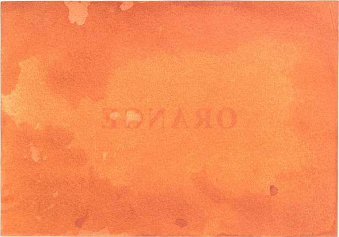 Claire Harvie, </span><span><em>International Orange (verso)</em>, </span><span>2014