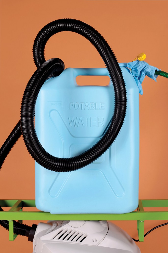 Jimmy Limit, </span><span><em>Water Pump with Hoses on Orange (Abundance, Ambiguity, Anxiety, Art, Balance, Collapse, Commerce, Digestion</em>, </span><span> Distribution, Everyday, Future, Luxury, Modern, Precarity, Profit, Uncertainty)