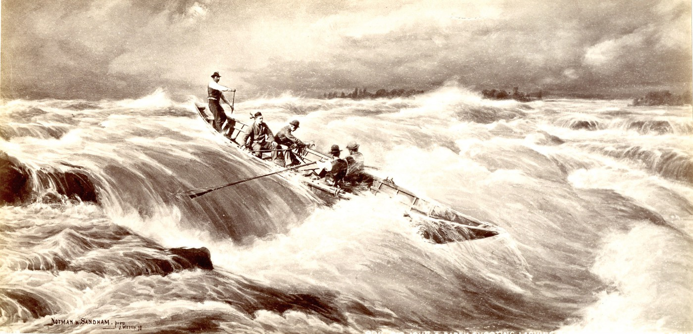 J. Weston for William Notman and Henry Sandham, </span><span><em>Big John and Party Shooting Lachine Rapids, Near Montreal, QC</em>, </span><span>1878 From the collection of Robert Wilson, Photographic Historical Society of Canada.