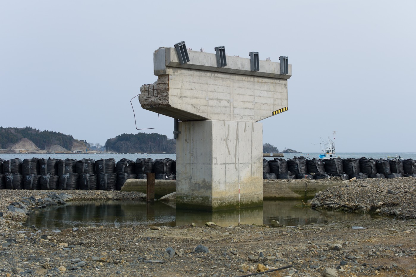 "Michel Huneault, </span><span><em>Utatsu Remains of a Bridge Damaged by Tsunami</em>, </span><span>2012. Archival pigment print, 20 x 30""."