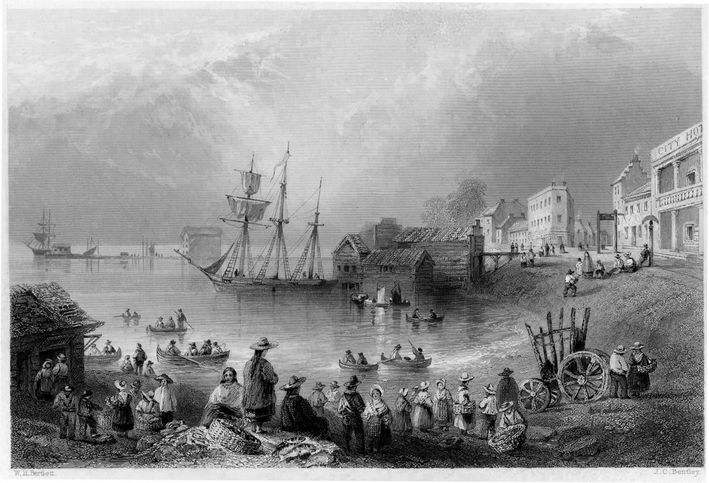 William Bartlett, </span><span><em>Fish Market, Toronto</em>, </span><span>1842 steel engraving based on 1838 in-situ rendering