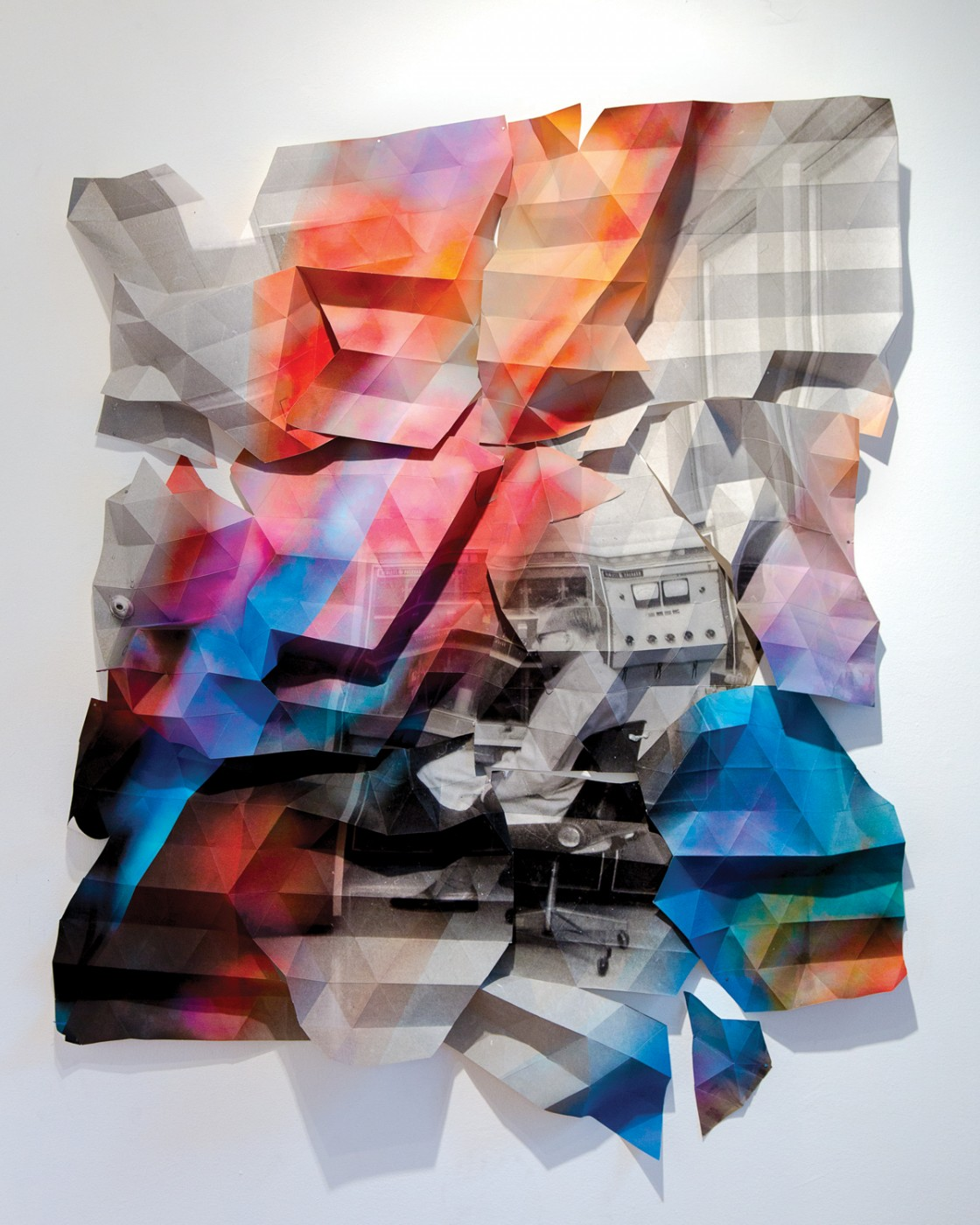 "Jessica Thalmann, </span><span><em>Computer Engineer at Work in Lab B10 (Henry F. Hall Building, Concordia University, 1966)</em>, </span><span>2015. Folded Archival pigment print, 56 x 44""."