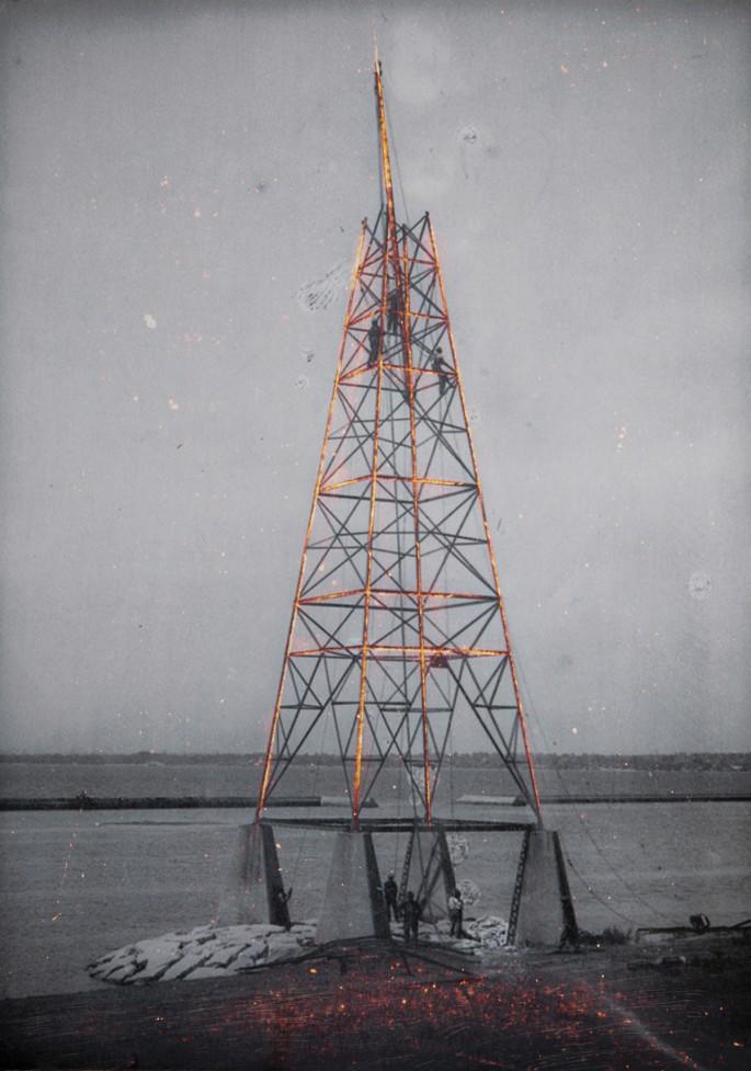 "Ryan Van der Hout, </span><span><em>Hydro Tower</em>, </span><span>2015. Unique etched chromogenic print, 40 x 65""."