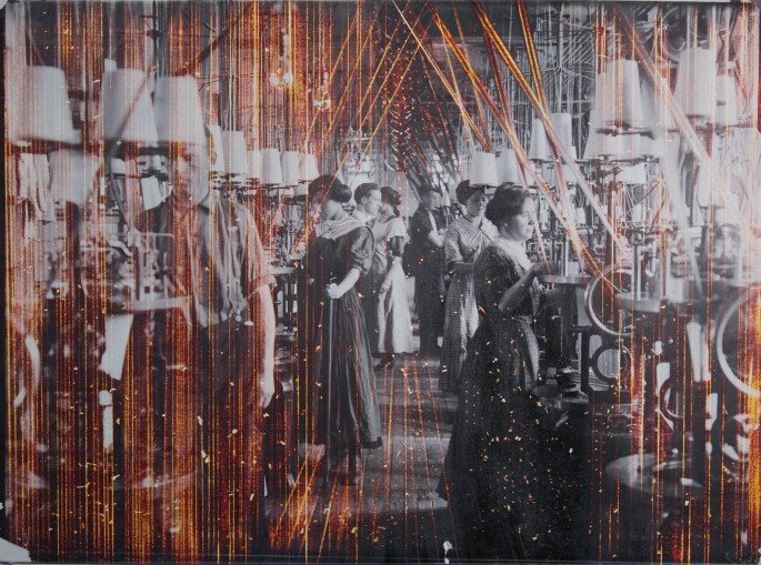 "Ryan Van der Hout, </span><span><em>Looms</em>, </span><span>2015. Unique etched chromogenic print, 18 x 24""."