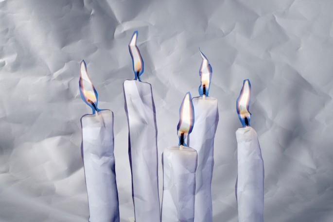 "Dennis Day, </span><span><em>Paper Candles</em>, </span><span>2015. Chromogenic print, 20 x 13 1/4""."