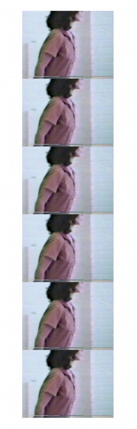 "Julia Hendrickson, </span><span><em>Rehearsing Untitled Marking 2</em>, </span><span>2016. VHS, 5 x 16""."