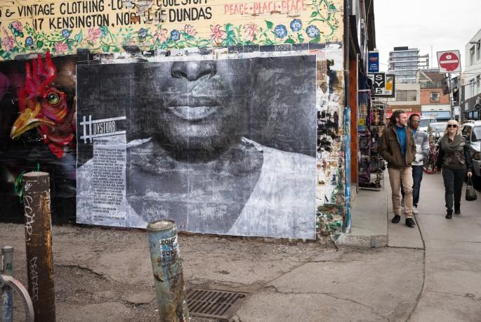 A photograph by Jake Naughton installed at 56 Kensington Avenue, Toronto, </span><span><em>Photo: Benjamin Petit</em>