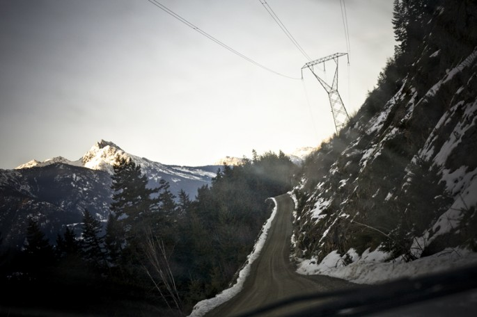Installation view of Jonathan Taggart, </span><span><em>In-SHUCK-ch Mountain &amp; Road, Samahquam IR 1</em>, </span><span>2012
