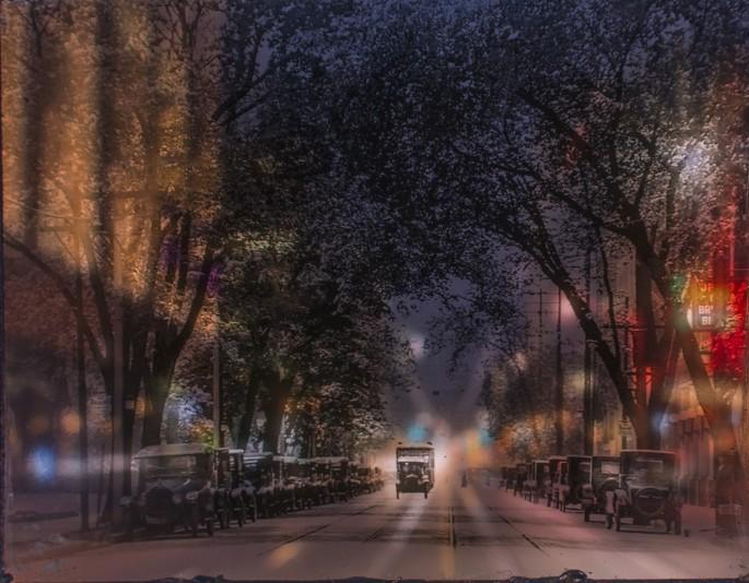 Summer Leigh, </span><span><em>College Street from Yonge Street.  Digital photograph through analog image. Toronto Archives: Fonds 1244, Item 1104</em>, </span><span>2014 &amp; 1916