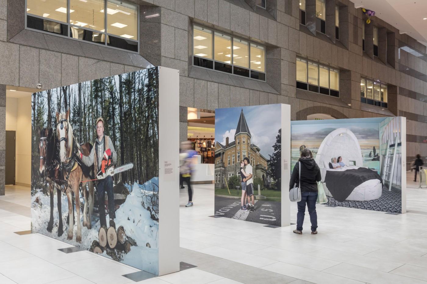 Naomi Harris, </span><span><em>OH CANADA!</em>, </span><span>Installation view at North York Centre, 2017. Photo by Toni Hafkenscheid.
