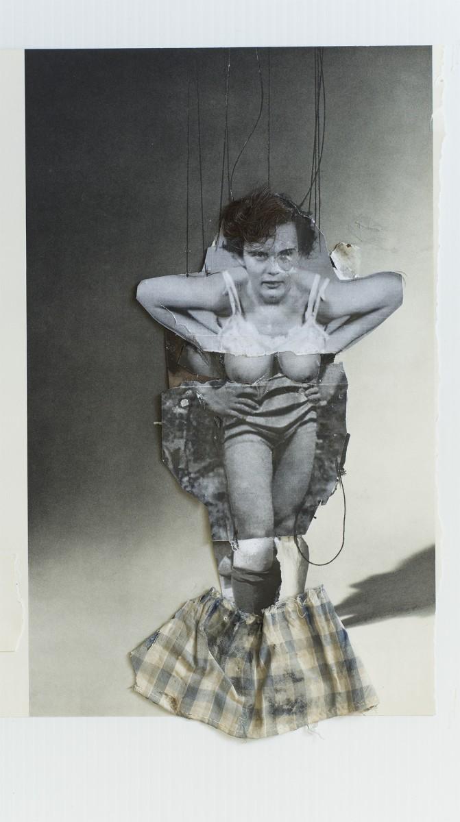 Angela Grossmann, </span><span><em>Plaid Skirt</em>, </span><span>2015. Mixed-media including human hair and doll skirt, 14x20&quot;.