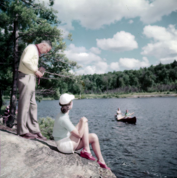 Chris Lund for the National Film Board of Canada, </span><span><em>Lake of Two Rivers near the summer resort Killarney Lodge, Algonquin Park, Ont.</em>, </span><span>1950. Courtesy of Library and Archives Canada, e010955768.