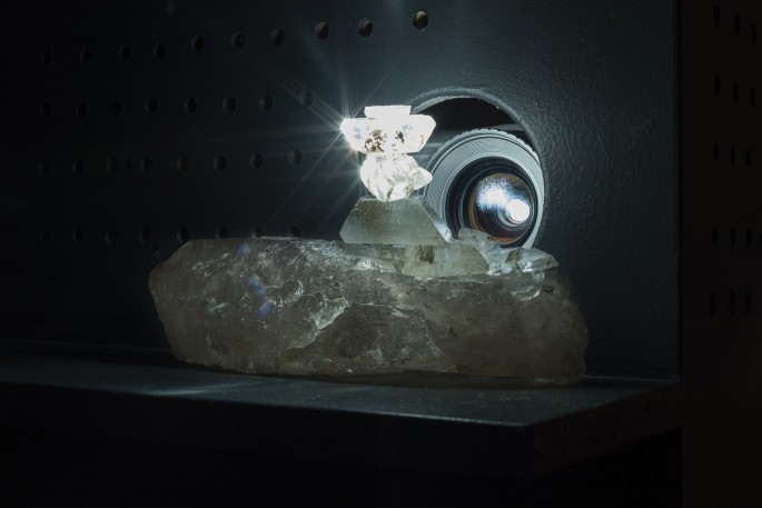 Tania Willard, </span><span><em>Only Available Light</em>, </span><span>2016. Selenite crystals, archival film. Courtesy of Grunt Gallery.