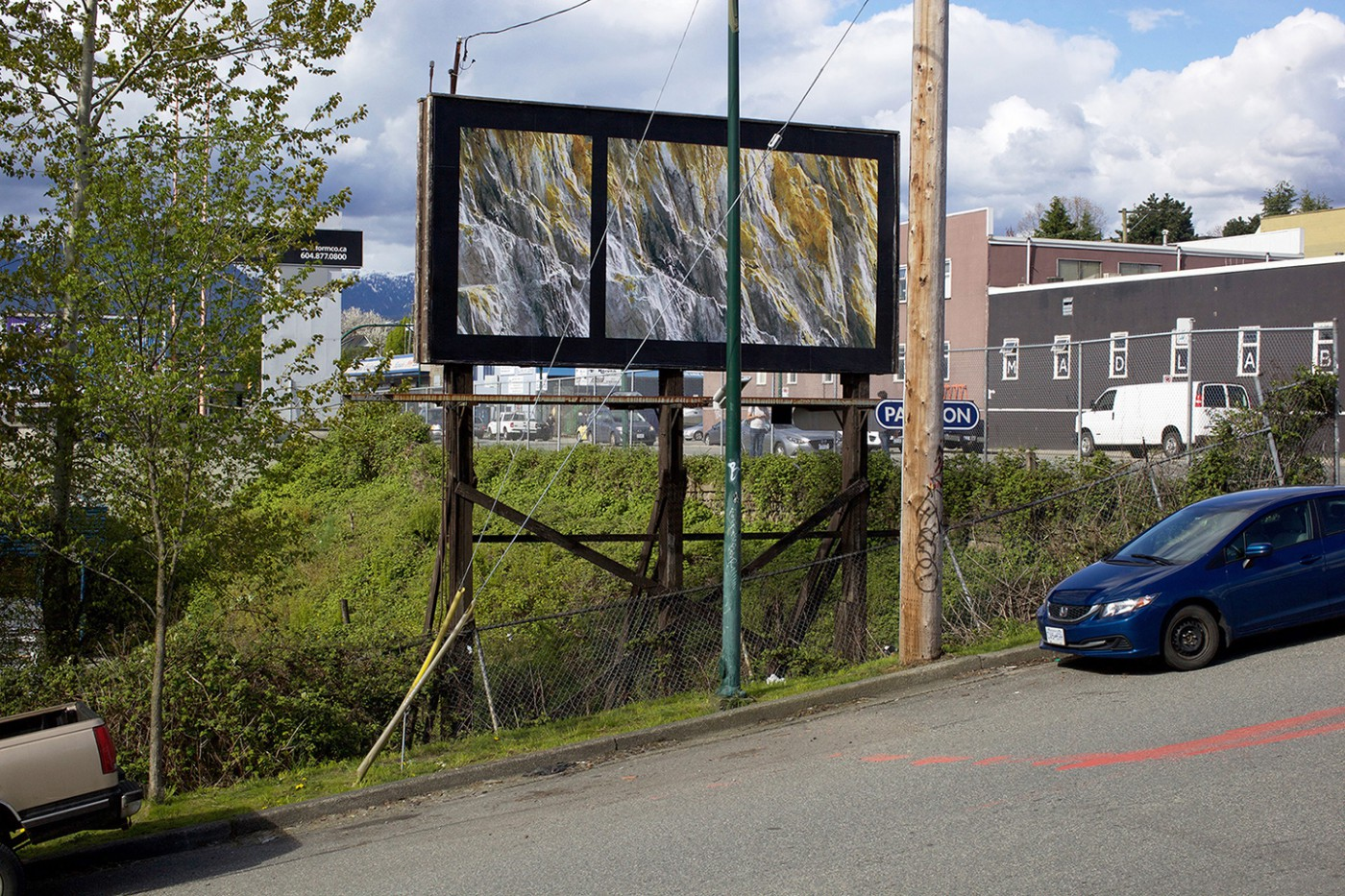 Seth Fluker, </span><span><em>Blueberry Hill</em>, </span><span>installation view of billboards in Vancouver, Clark Dr at East 4 Ave &amp; East 2 Ave. 2017.