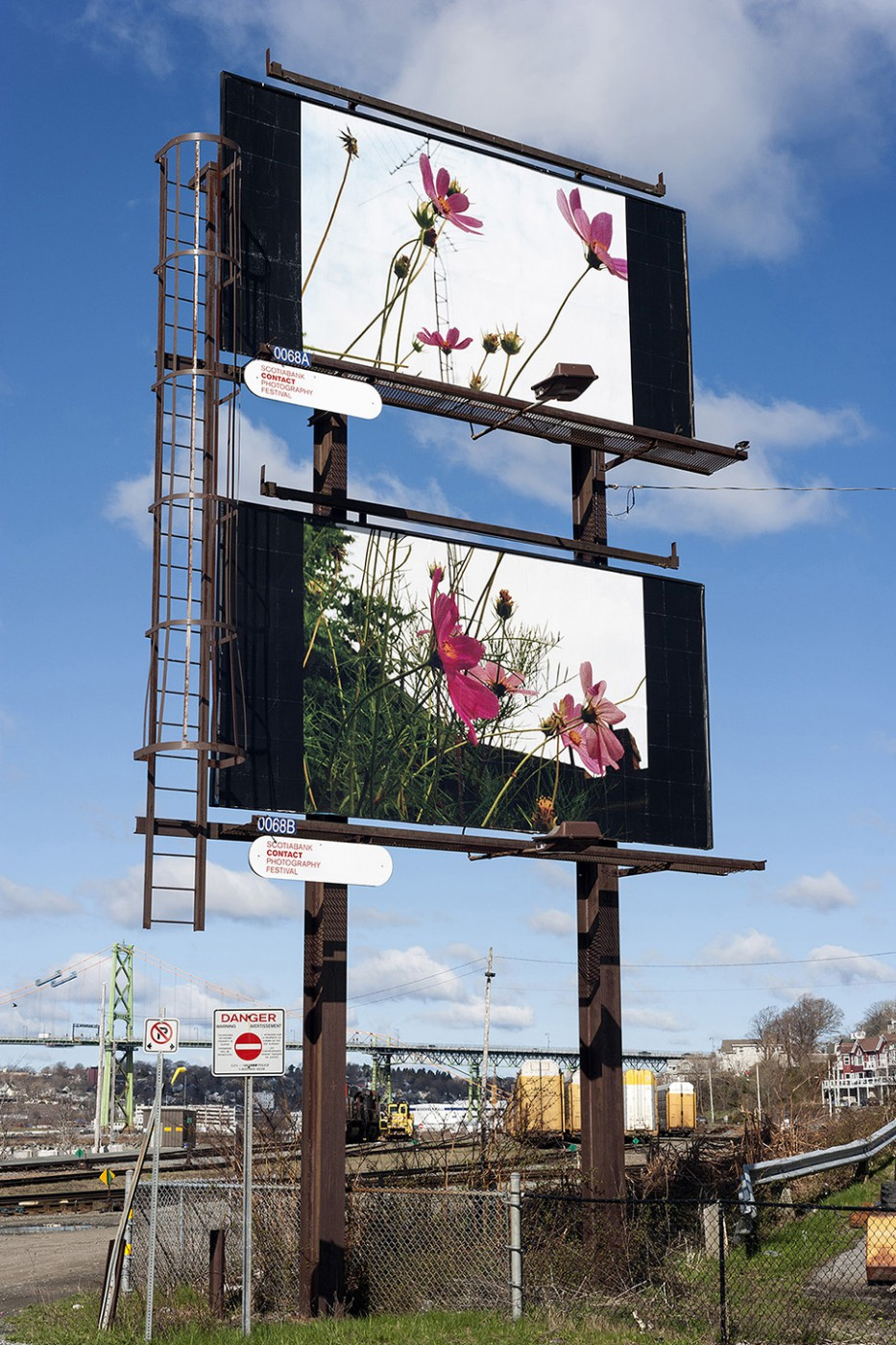 Seth Fluker, </span><span><em>Blueberry Hill</em>, </span><span>installation view of billboards in Halifax. North St at Alderney Dr. 2017.