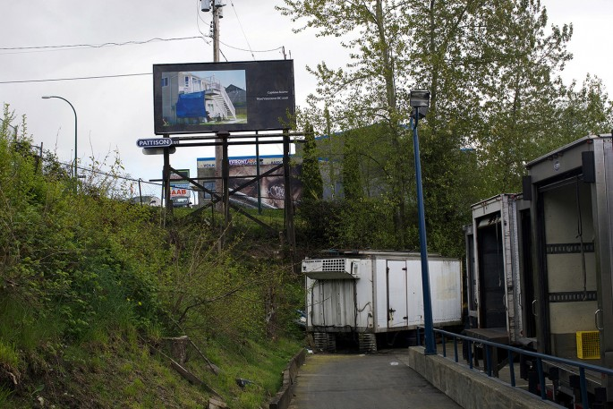 Seth Fluker, </span><span><em>Blueberry Hill</em>, </span><span>installation view of billboards in Vancouver. Clark Dr at East 4 Ave &amp; East 2 Ave. 2017.