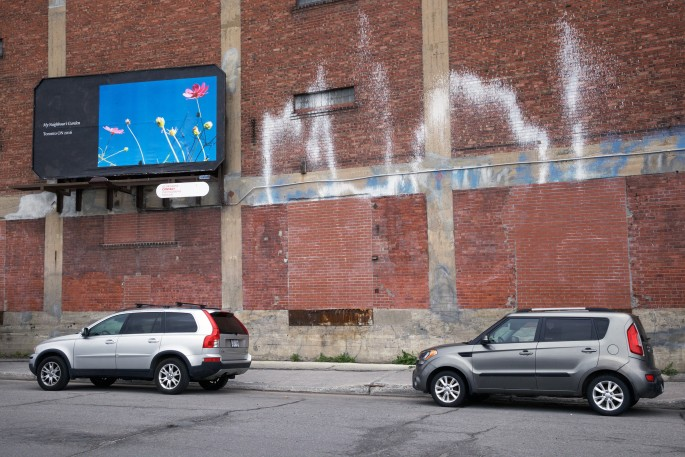 Seth Fluker, </span><span><em>Blueberry Hill</em>, </span><span>installation view of billboards in Montreal. Van Horne Ave at St Laurence Blvd &amp; St Urbain. 2017.