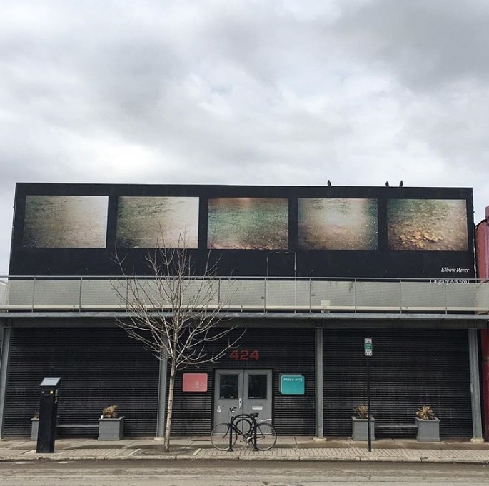 Seth Fluker, </span><span><em>Blueberry Hill</em>, </span><span>installation view of Elbow River at AKA Artist Run, Saskatoon. 424 - 20 St W, south facade. 2017