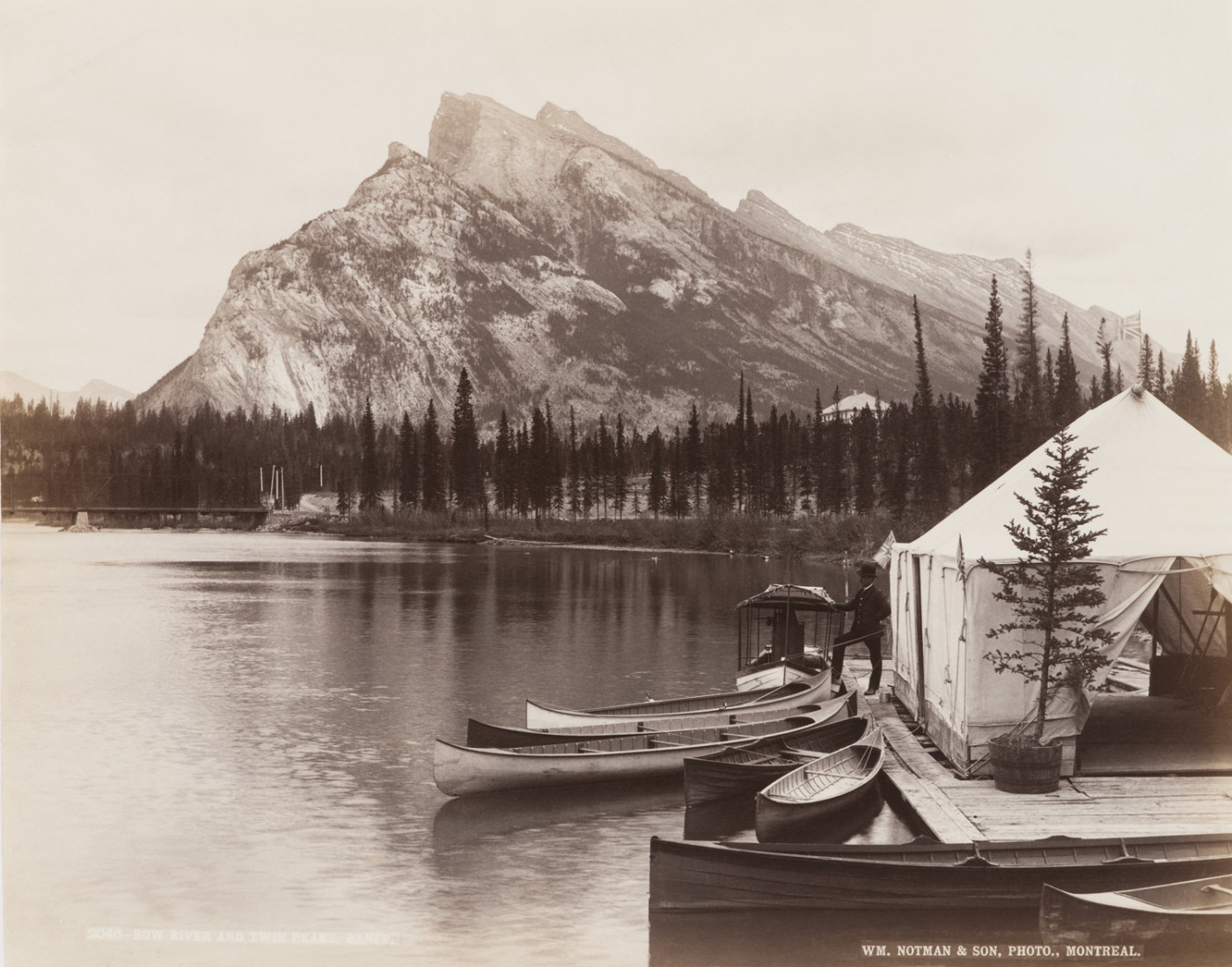 William Notman and Son, </span><span><em>Bow River and Twin Peaks, Banff (Alberta)</em>, </span><span>1889. Albumen silver print. Canadian Centre for Architecture.