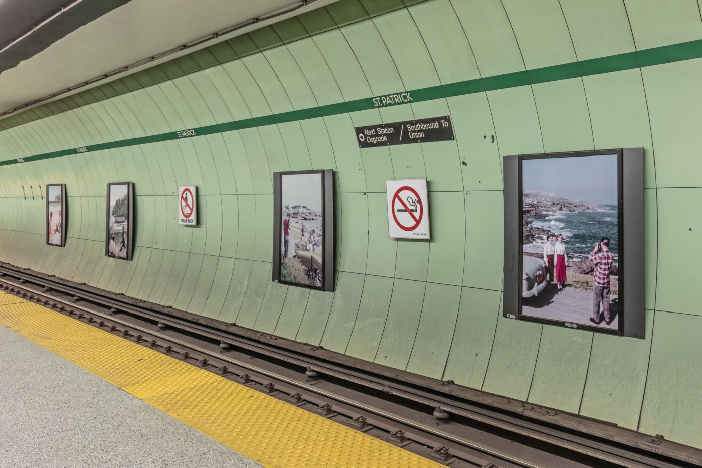 Chris Lund, </span><span><em>Canada in Kodachrome: Imaging Pleasure and Leisure</em>, </span><span>Installation view at St. Patrick Subway Station, 2017. Photo by Toni Hafkenscheid.